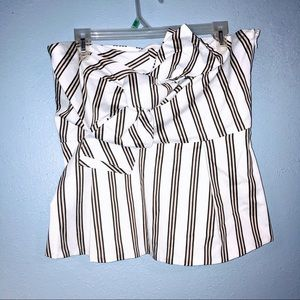 New York and Company striped strapless peplum top